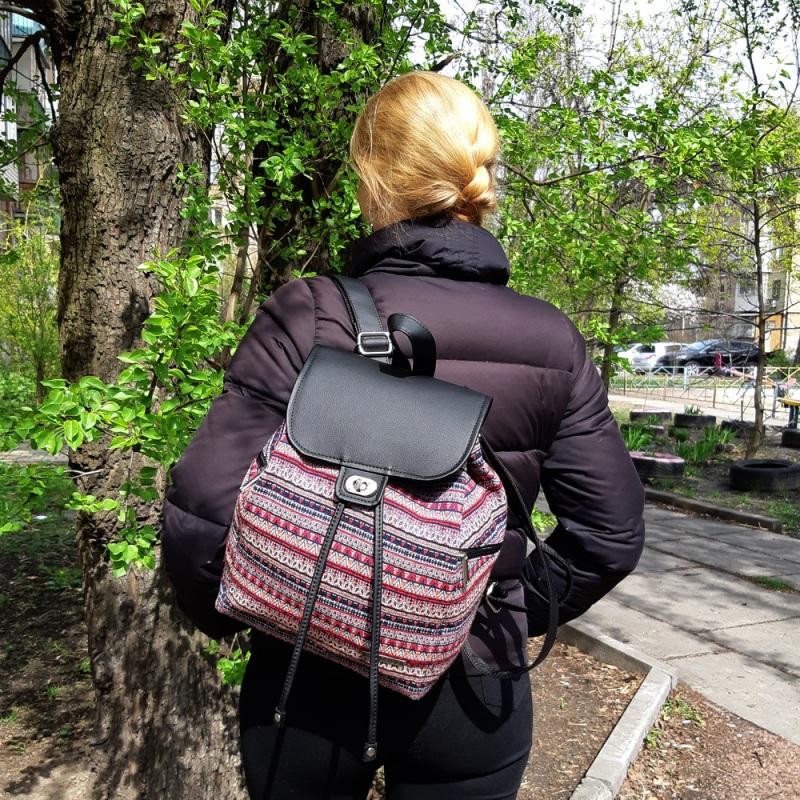 Рюкзак з гобелену та єкошкіри чорний Чорний • Матеріал верху: гобелен Соколова Світлана - фото 4