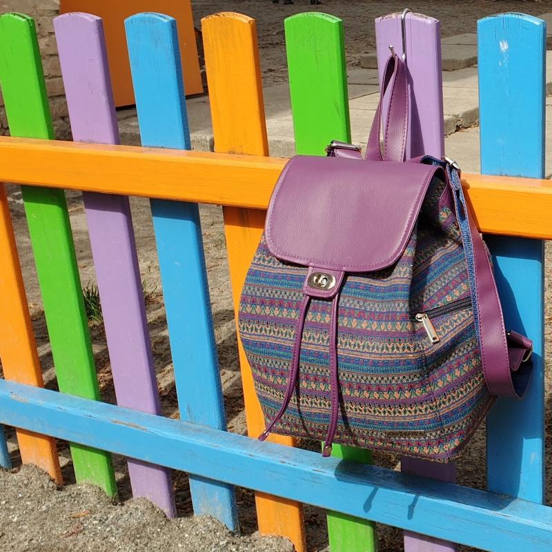 Рюкзак з гобелену та єкошкіри фуксія Фіолетовий • Матеріал верху: гобелен Соколова Світлана - фото 2