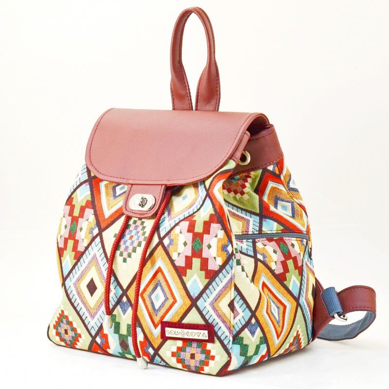 Рюкзак з гобелену та екошкіри  Червоний • Матеріал верху: гобелен Соколова Світлана - фото 1