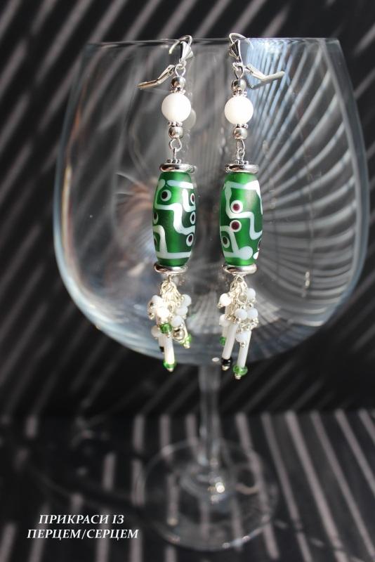 Сережки 02 Зелений (Алебастр, скляні  намист Сьома Роксолана - фото 1