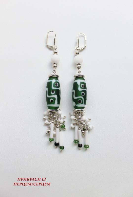Сережки 02 Зелений (Алебастр, скляні  намист Сьома Роксолана - фото 2