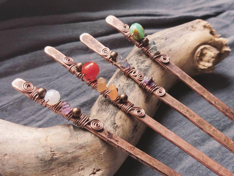 Заколки для волос (в бохо стиле) Медный медь + камни Творческая мастерская Рыбка - фото 7