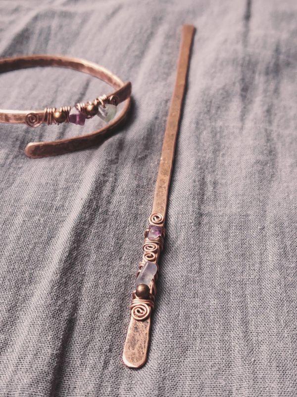 Заколки для волос (в бохо стиле) Медный медь + камни Творческая мастерская Рыбка - фото 5