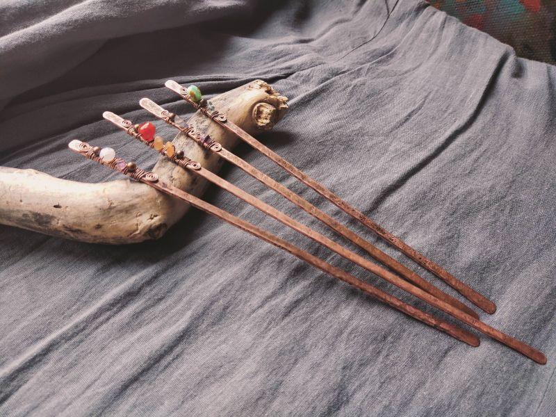 Заколки для волос (в бохо стиле) Медный медь + камни Творческая мастерская Рыбка - фото 1