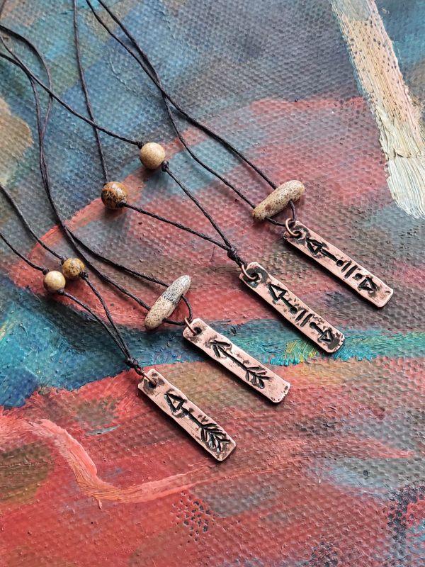 Кулоны для мужчин, с шаманской серии  медь + яшма Творческая мастерская Рыбка - фото 1