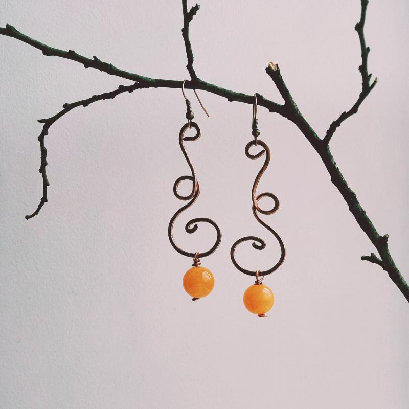 """Серьги под названием """"Танец ветра и осени"""" Оранжевый кованая медь с натуральны Творческая мастерская Рыбка - фото 1"""