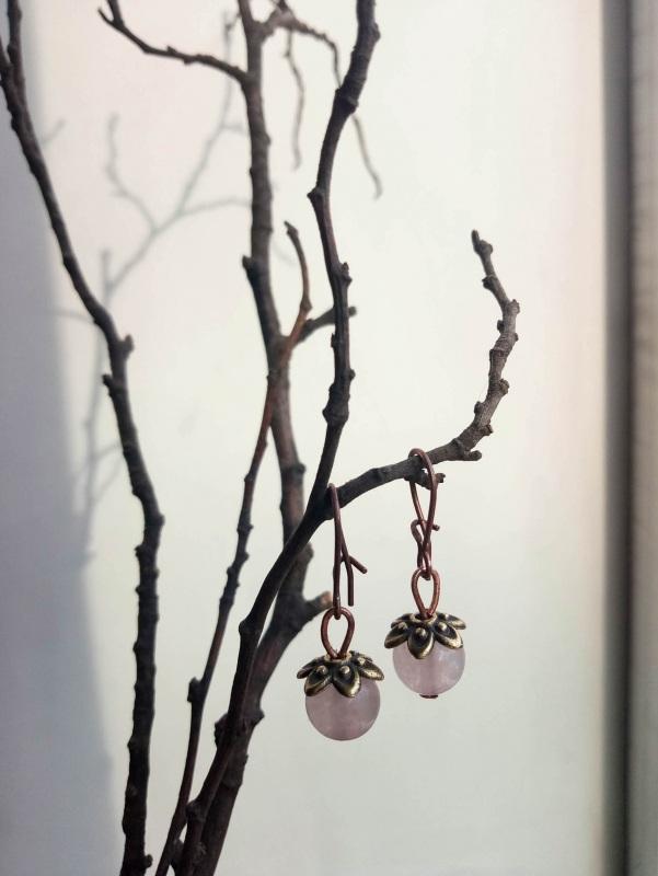 Серьги с кварцем Розовый медь, фурнитура, розовый Творческая мастерская Рыбка - фото 1