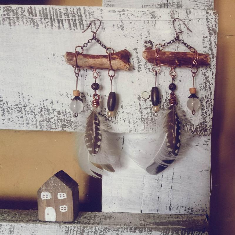 Серьги в бохо стиле Бордовый медь, перышко, бусины, ка Творческая мастерская Рыбка - фото 2