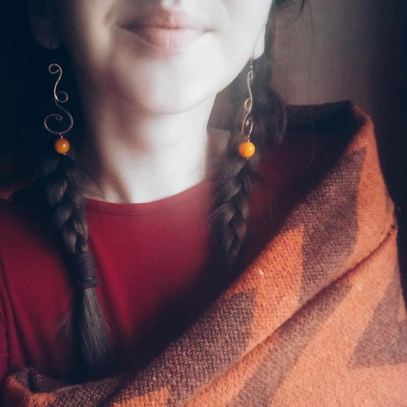 """Серьги под названием """"Танец ветра и осени"""" Оранжевый кованая медь с натуральны Творческая мастерская Рыбка - фото 2"""