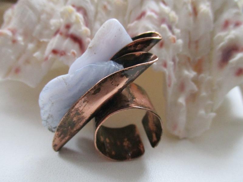 Кольцо Айсберг Голубой кружевной агат, медь Стадник Юлия - фото 1