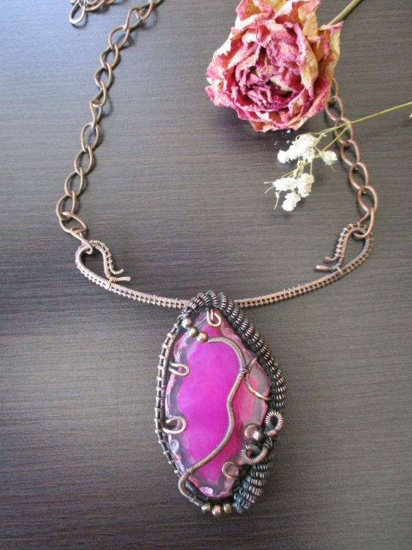 Колье Хильер Розовый агат, мідь, фурнітура Стадник Юлия - фото 3