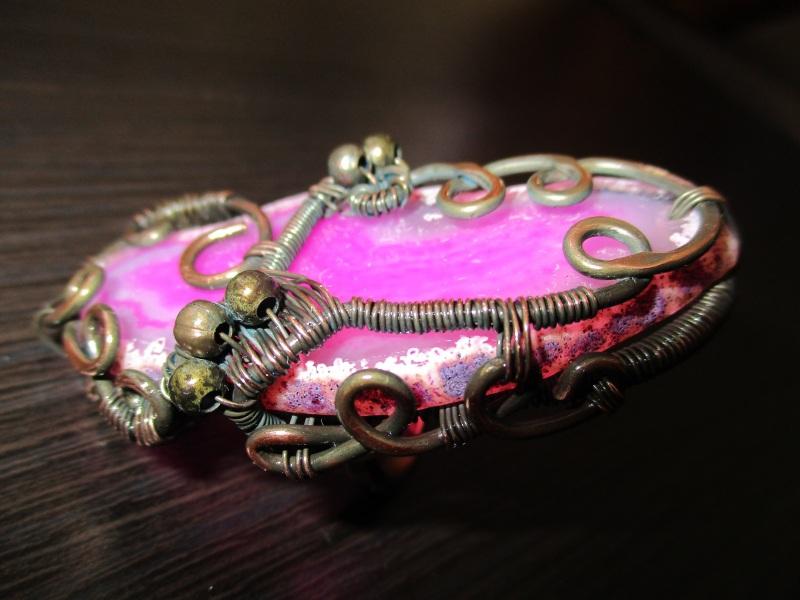 Кольцо Хильер Розовый срез агата, медь патиниро Стадник Юлия - фото 1