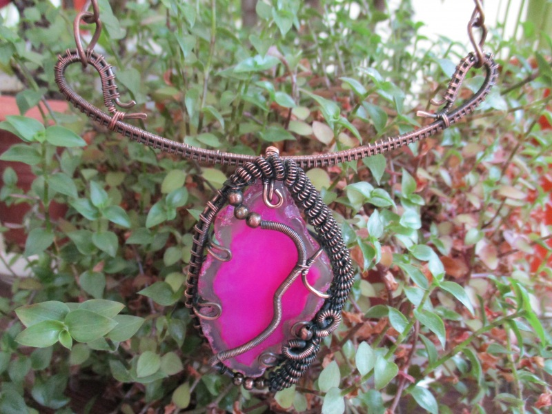 Колье Хильер Розовый агат, мідь, фурнітура Стадник Юлия - фото 2