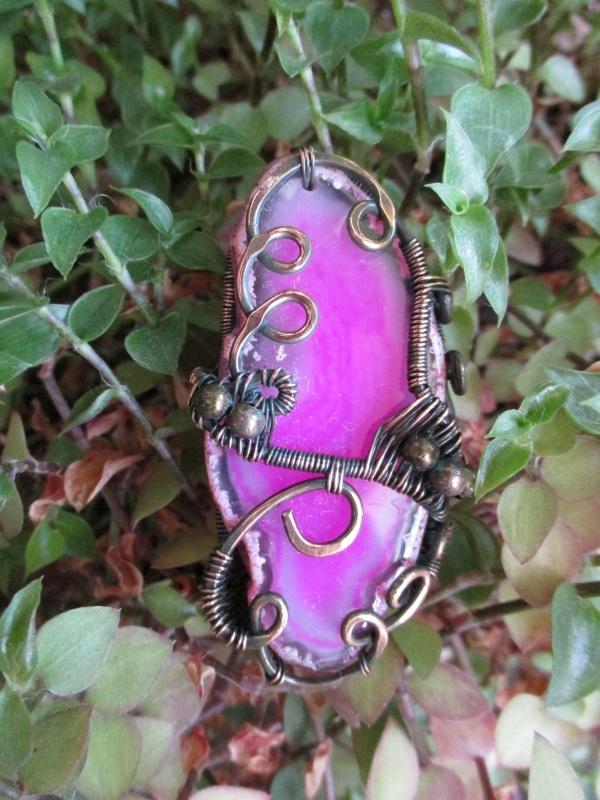 Кольцо Хильер Розовый срез агата, медь патиниро Стадник Юлия - фото 3