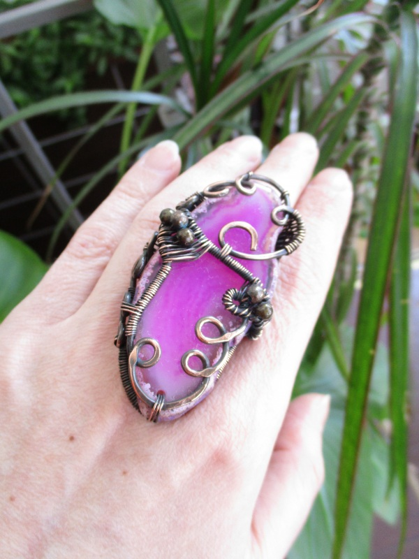 Кольцо Хильер Розовый срез агата, медь патиниро Стадник Юлия - фото 5