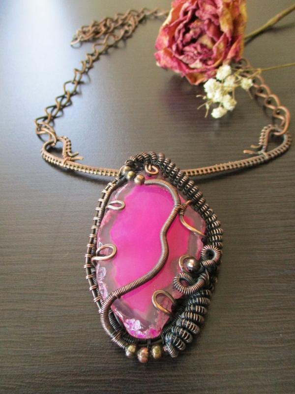 Колье Хильер Розовый агат, мідь, фурнітура Стадник Юлия - фото 1