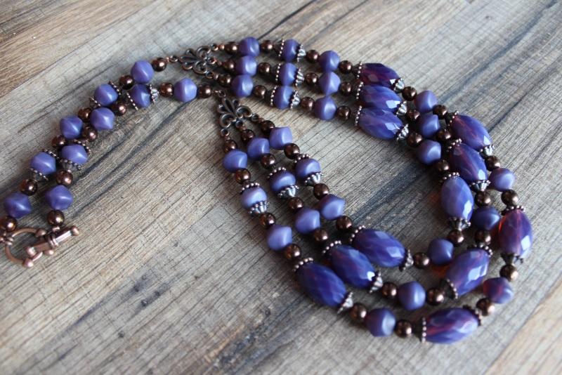 Ожерелье Фиолет Фиолетовый бусины Preciosa, медная ф Стефура Марта - фото 1