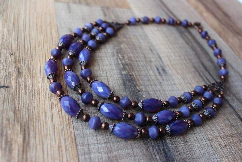 Ожерелье Фиолет Фиолетовый бусины Preciosa, медная ф Стефура Марта - фото 2