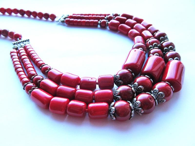 Ожерелье Красный Коралл Тихоокеанский. Дли Briolet Stone - фото 1