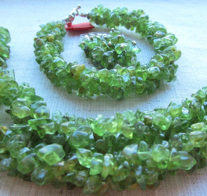 Набор украшений Хризолит Зеленый хризолит, длина колье - 4 Briolet Stone - фото 1