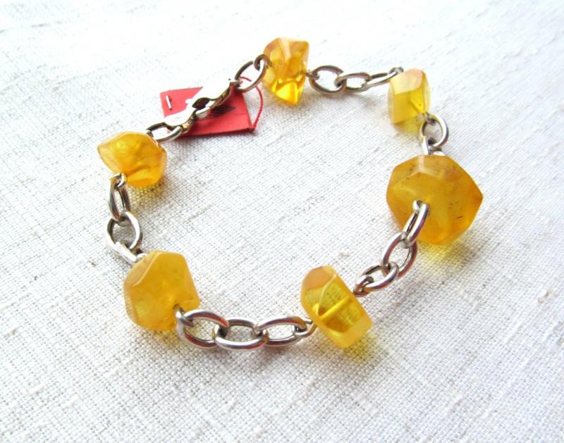 Браслет из янтаря Желтый серебро 925, янтарь Briolet Stone - фото 2