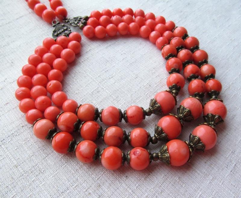 Ожерелье Красный оранжевый коралл, длина - Briolet Stone - фото 1