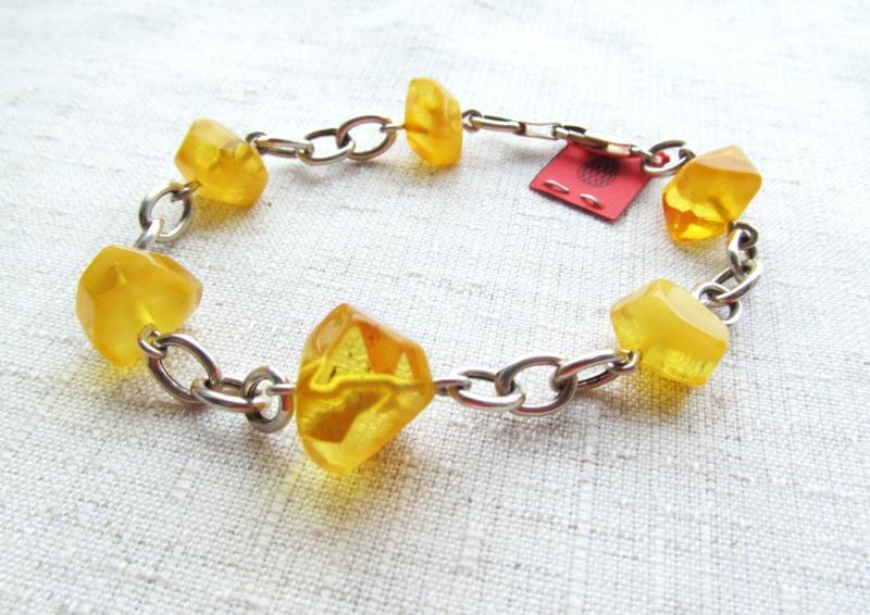 Браслет из янтаря Желтый серебро 925, янтарь Briolet Stone - фото 3