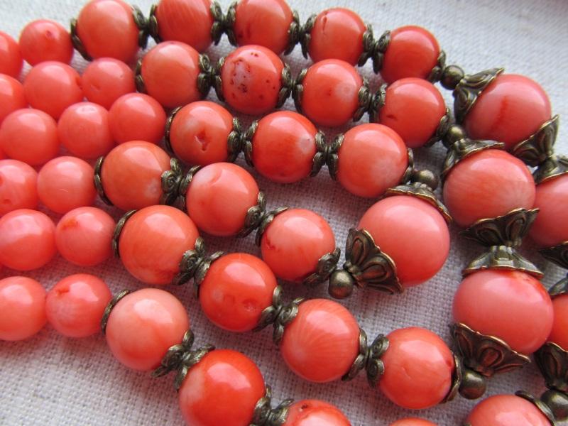Ожерелье Красный оранжевый коралл, длина - Briolet Stone - фото 2