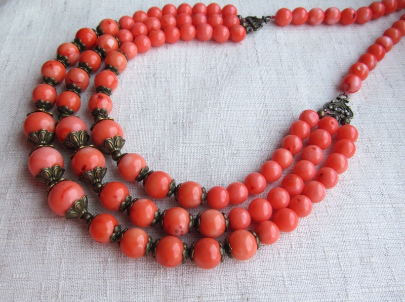 Ожерелье Красный оранжевый коралл, длина - Briolet Stone - фото 3