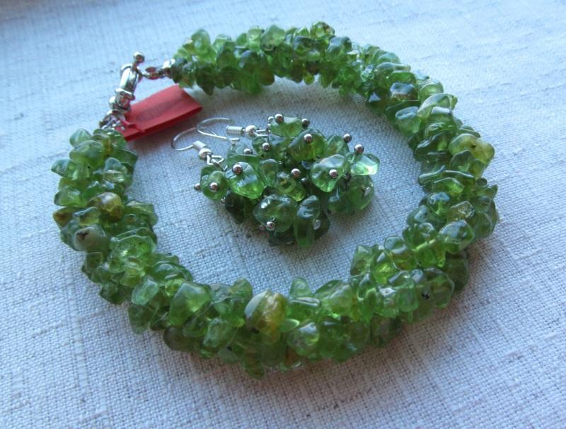 Набор украшений Хризолит Зеленый хризолит, длина колье - 4 Briolet Stone - фото 2