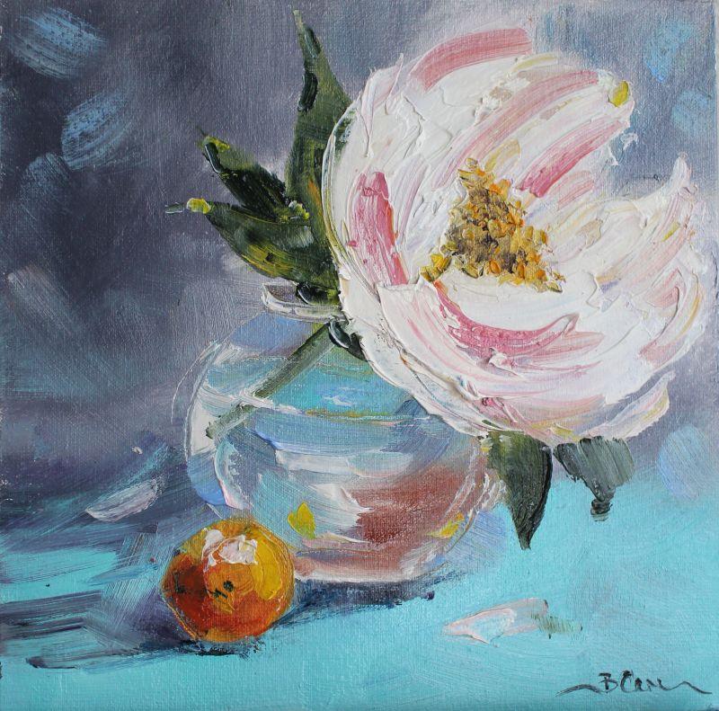 Картина букет цветов пион  масло, холст на картоне Суханова Виктория - фото 1