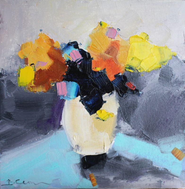 Картина букет цветов  масло, холст на картоне Суханова Виктория - фото 1