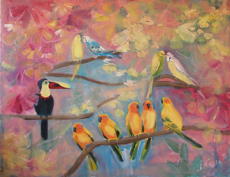 Птички  холст, масло, паста Суханова Виктория - фото 1