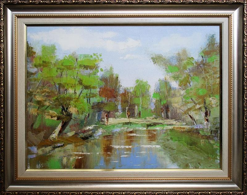 Река Любыч  холст, масло Суханова Виктория - фото 1