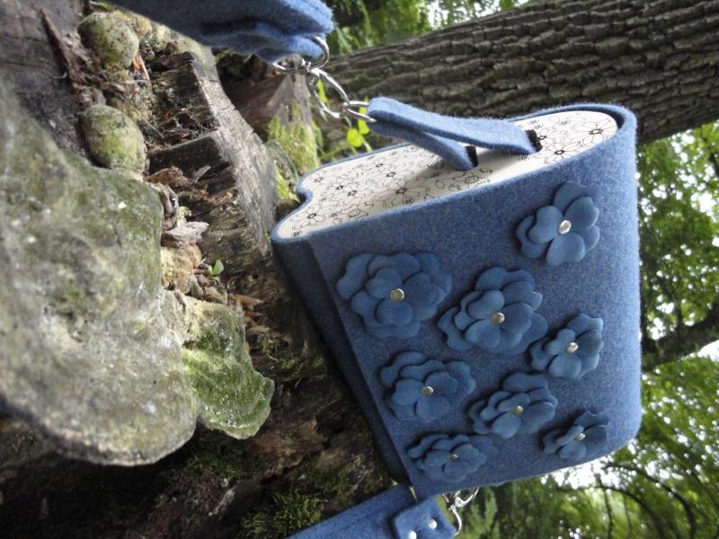 Сумка Море цветов 2 Голубой Войлок, кожа, дерево Synyava bags & accessories - фото 1