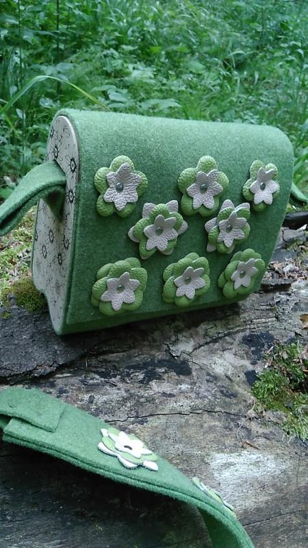 Сумка Море цветов 2 Голубой Войлок, кожа, дерево Synyava bags & accessories - фото 4