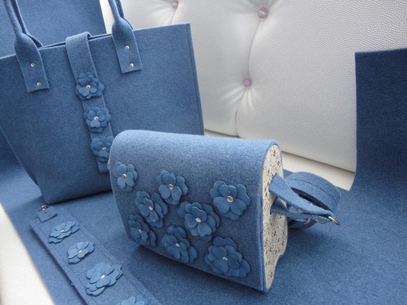 Сумка Море цветов 2 Голубой Войлок, кожа, дерево Synyava bags & accessories - фото 7