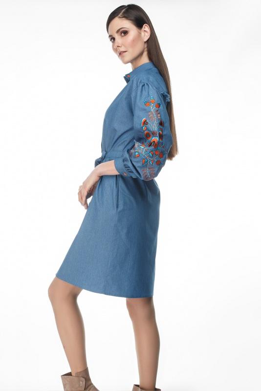 Платье Шиповник Синий Коттон, комбинированная в ТМ Берегиня - фото 5