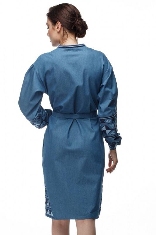 Платье Геометрия Голубой коттон ТМ Берегиня - фото 4
