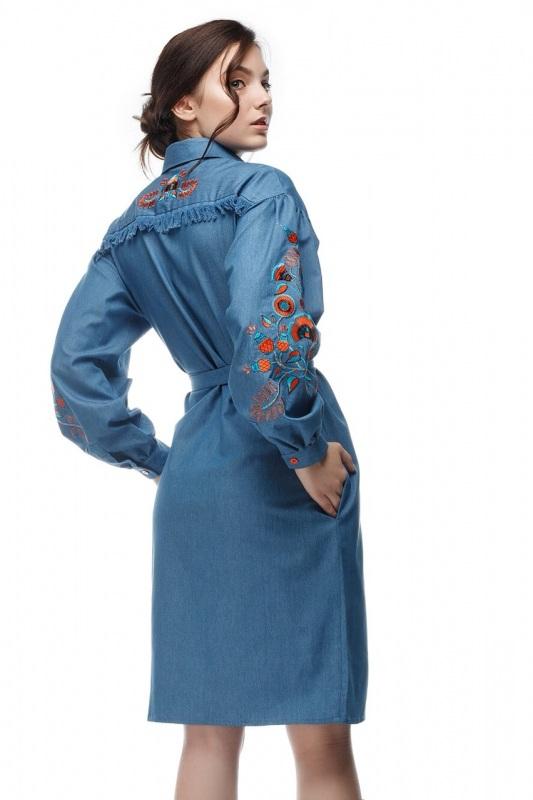 Платье Шиповник Синий Коттон, комбинированная в ТМ Берегиня - фото 4