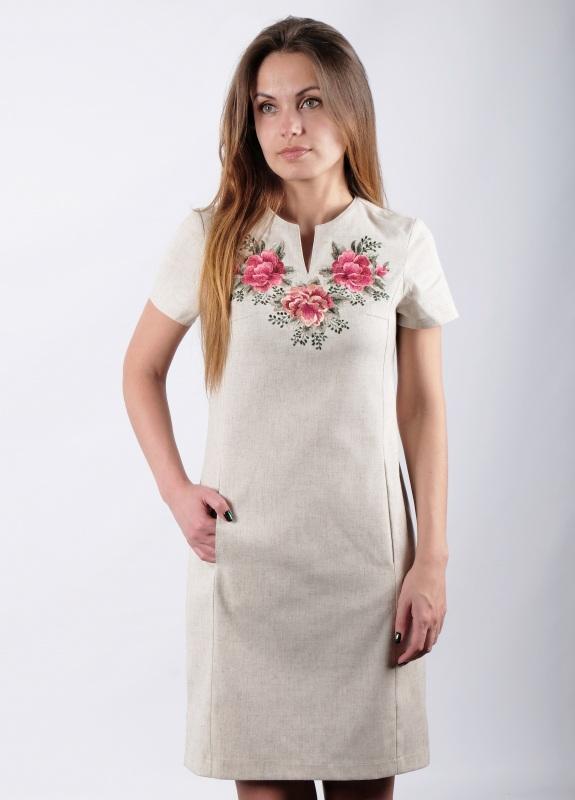 Платье Розы  Лен, вышивка гляддю ТМ Берегиня - фото 1