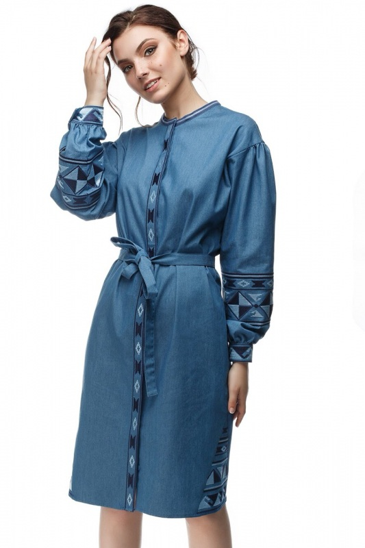 Платье Геометрия Голубой коттон ТМ Берегиня - фото 1
