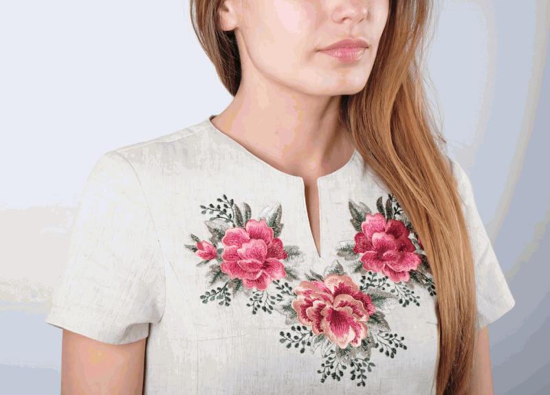 Платье Розы  Лен, вышивка гляддю ТМ Берегиня - фото 2