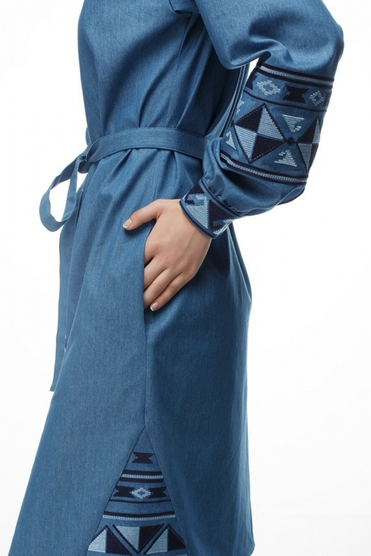 Платье Геометрия Голубой коттон ТМ Берегиня - фото 3