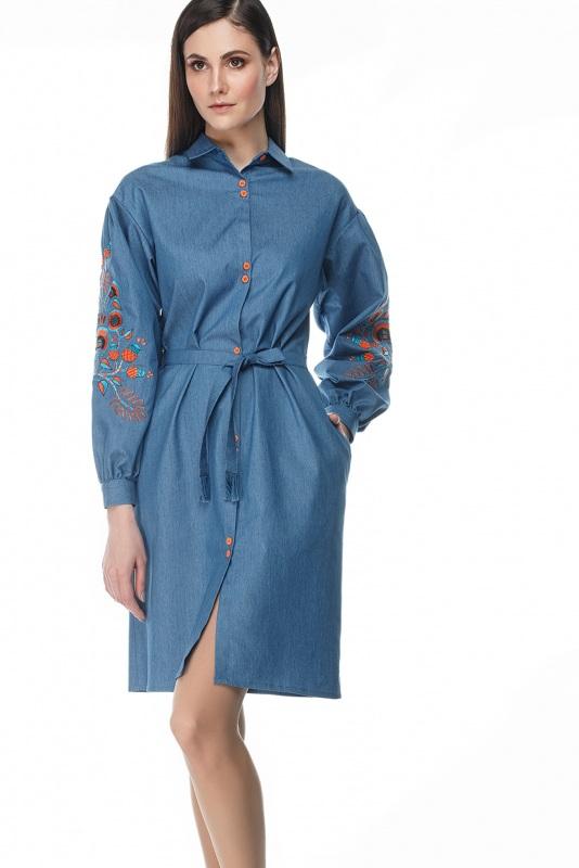 Платье Шиповник Синий Коттон, комбинированная в ТМ Берегиня - фото 1
