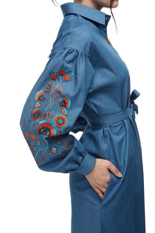 Платье Шиповник Синий Коттон, комбинированная в ТМ Берегиня - фото 2