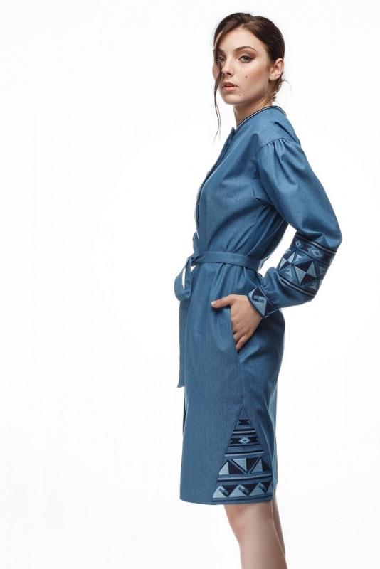 Платье Геометрия Голубой коттон ТМ Берегиня - фото 2