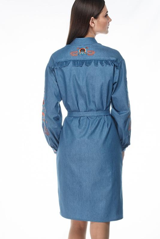 Платье Шиповник Синий Коттон, комбинированная в ТМ Берегиня - фото 3