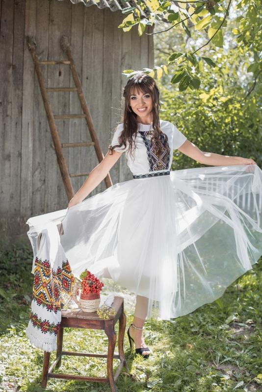 Платье 3 Белый Матовый атлас, евросетка, Цисецька Ирина - фото 3