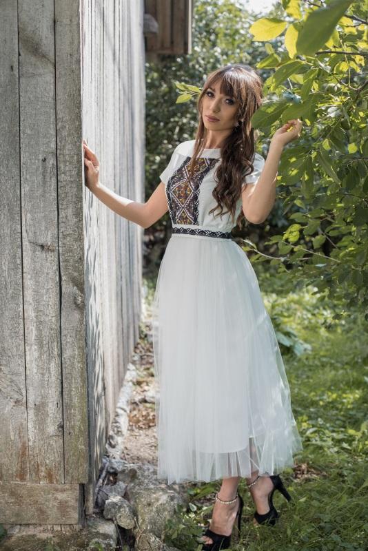 Платье 3 Белый Матовый атлас, евросетка, Цисецька Ирина - фото 1